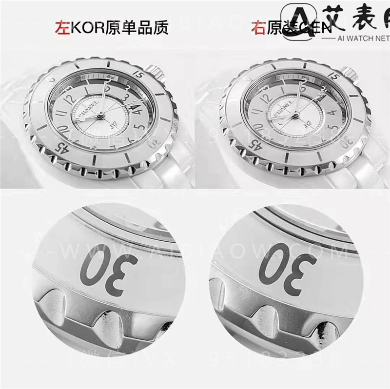 KOR厂香奈儿J12全白陶瓷32mm女士复刻表对比正品评测