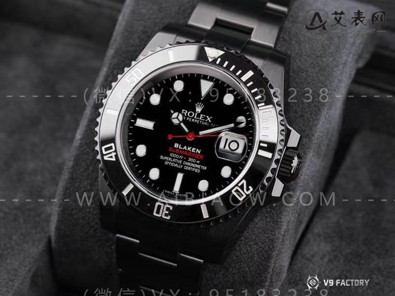 V9厂复刻劳力士水鬼blacken改装曜黑版腕表对比评测